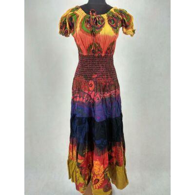5b7a07982f Elől kötős - romantikus maxi ruha ( narancs - lila )