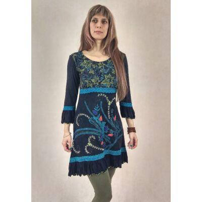 f6b23f4e95 Romantikus - hímzett, indás midi ruha ( kék )