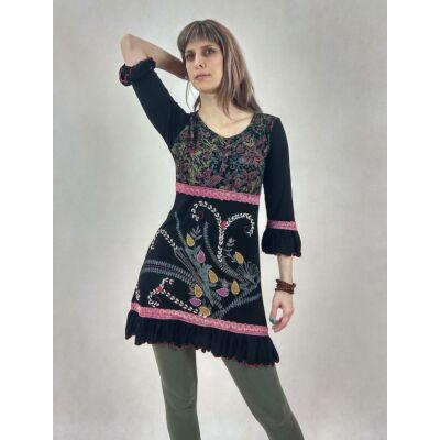 6e682285de Romantikus - hímzett, indás midi ruha ( fekete ) - Maxi / Midi ruhák