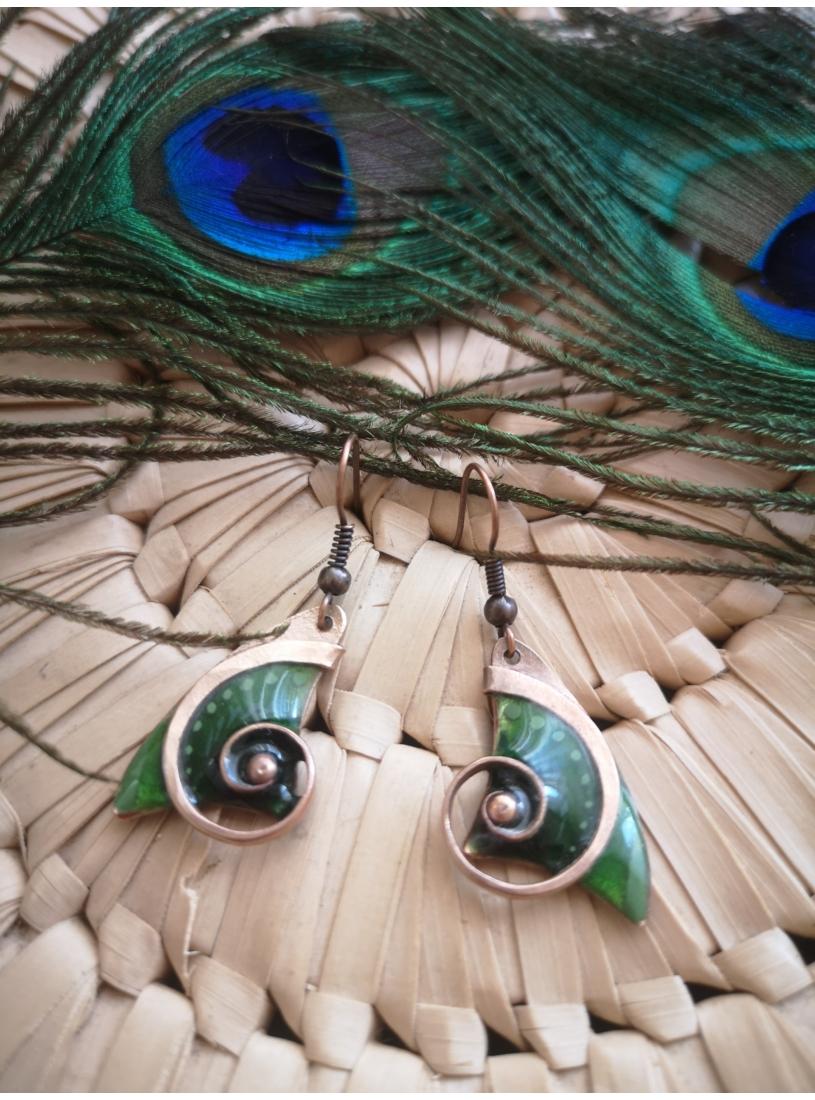 Tűzzománc fülbevaló -  kagyló, zöld