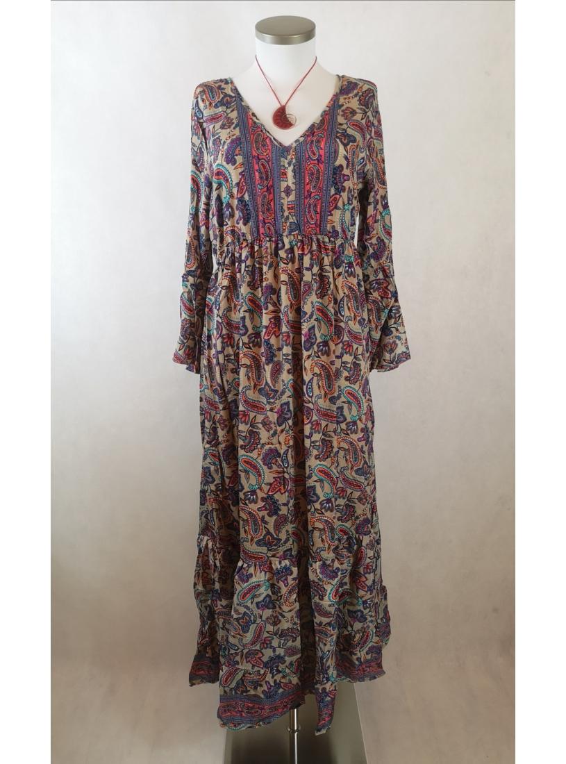 Indiai ruha, hosszú ujjú maxi ruha  - bézs, színes mintás