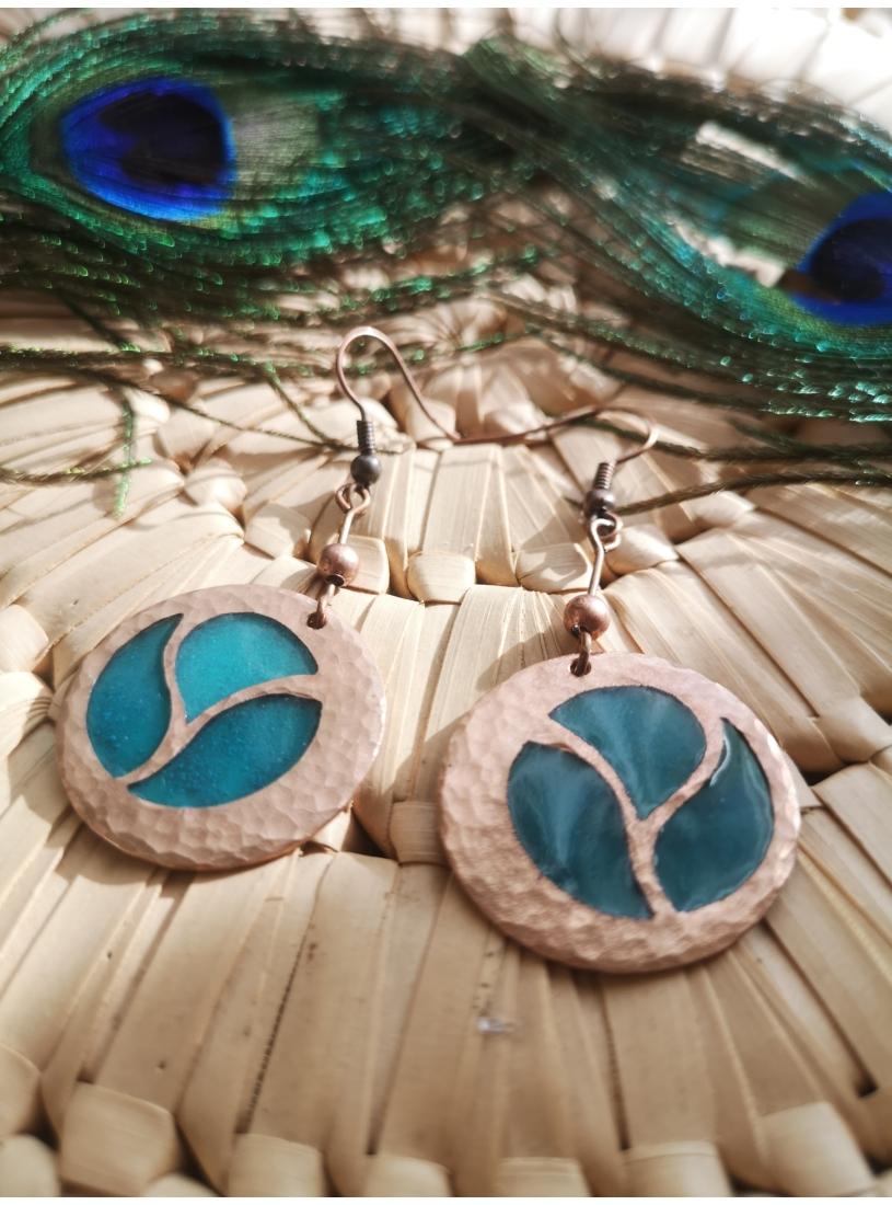 Tűzzománc fülbevaló - kék érmés