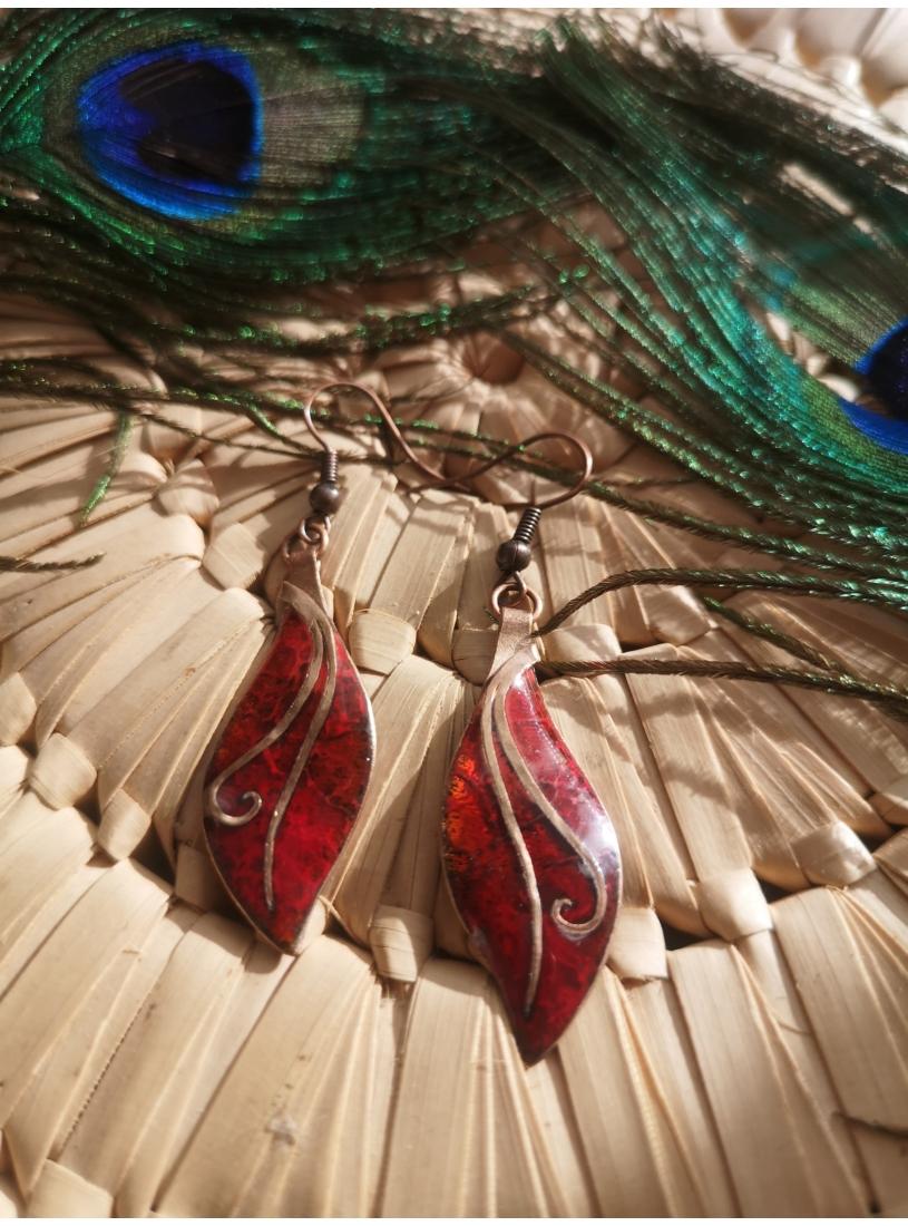 Tűzzománc fülbevaló - tündéres, piros