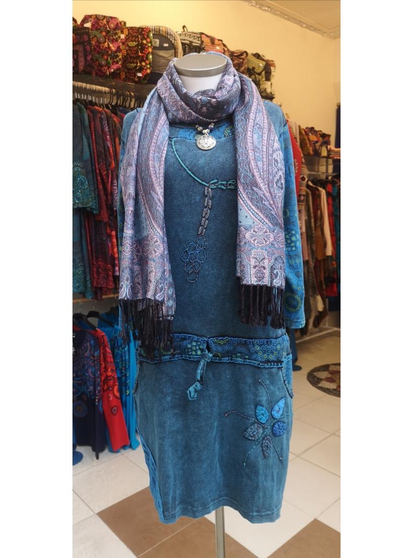 Kőmosott , virágos ruha ( kék )