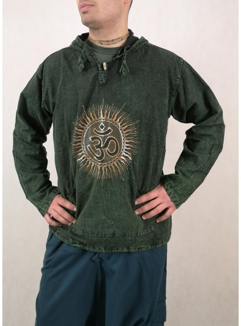 Zöld, kőmosott kapucnis pulcsi - ohmos