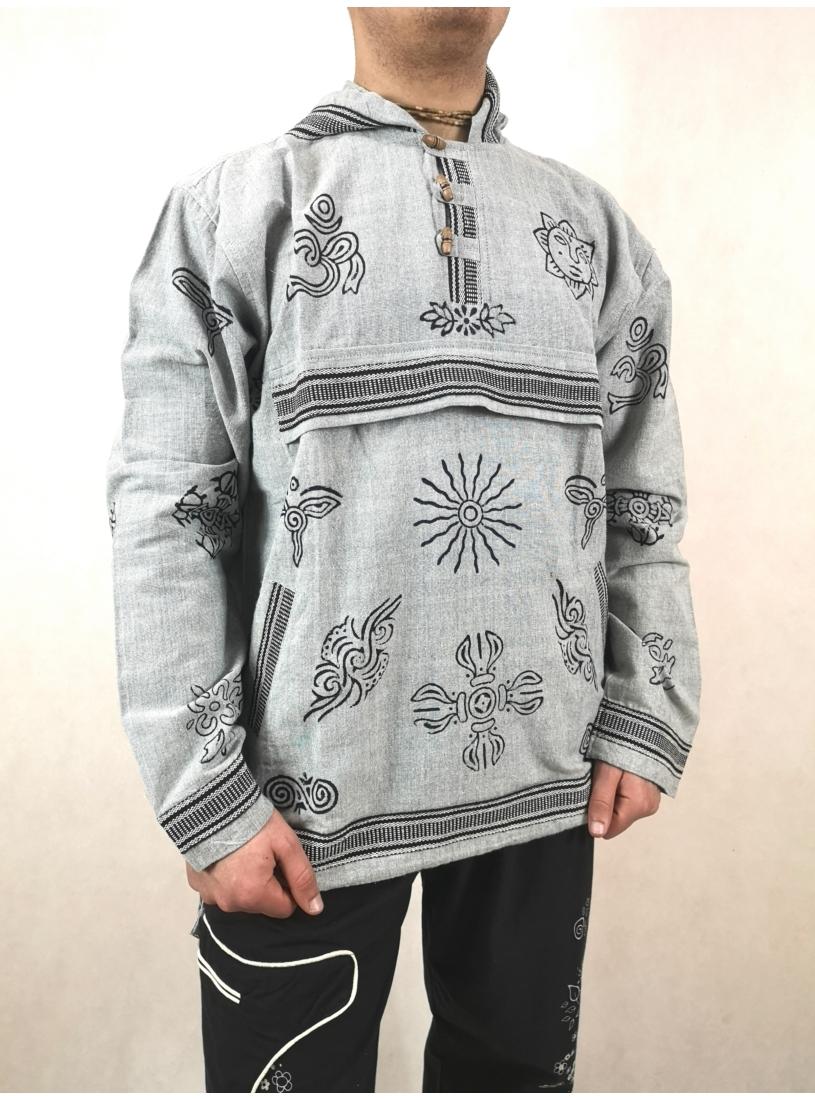 Szürke, nepáli kapucnis pulcsi