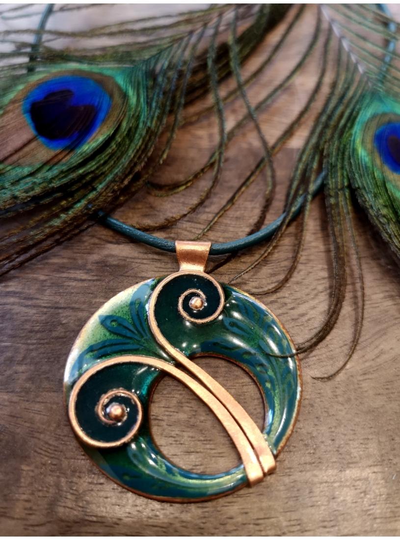Indás tűzzománc medál / nyaklánc - smaragd zöld