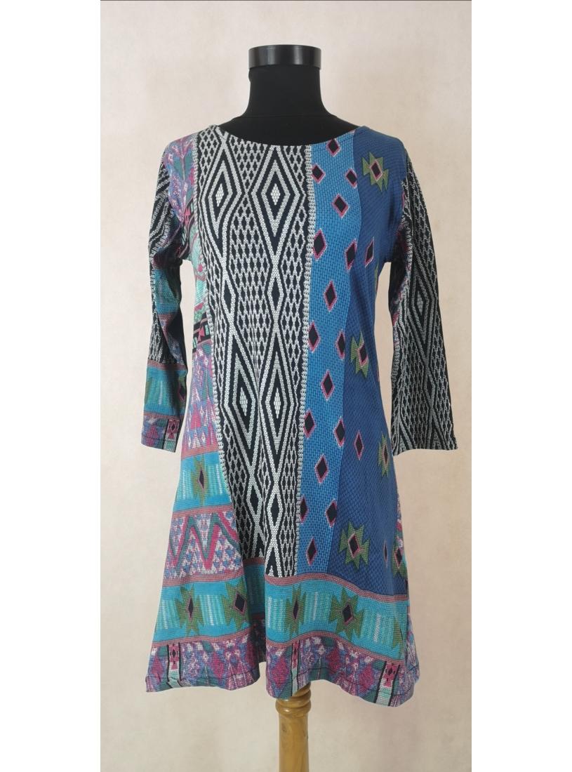 Etnikai mintás ruha / tunika - kék, rózsaszín