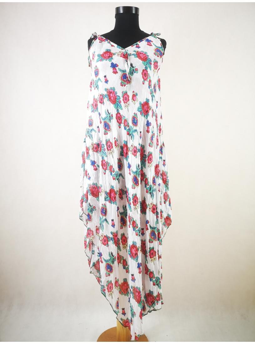 Lenge nyári ruha - apró virágos, fehér