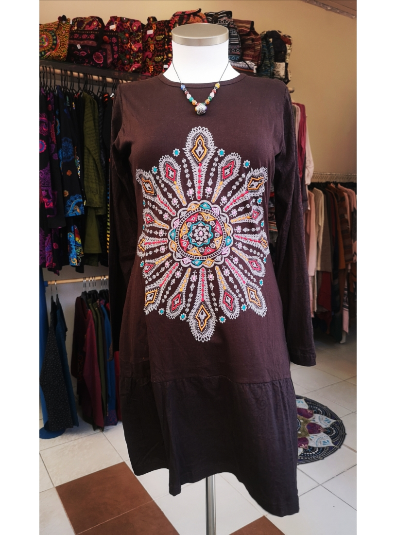 Hímzett, virágos mini ruha ( barna )
