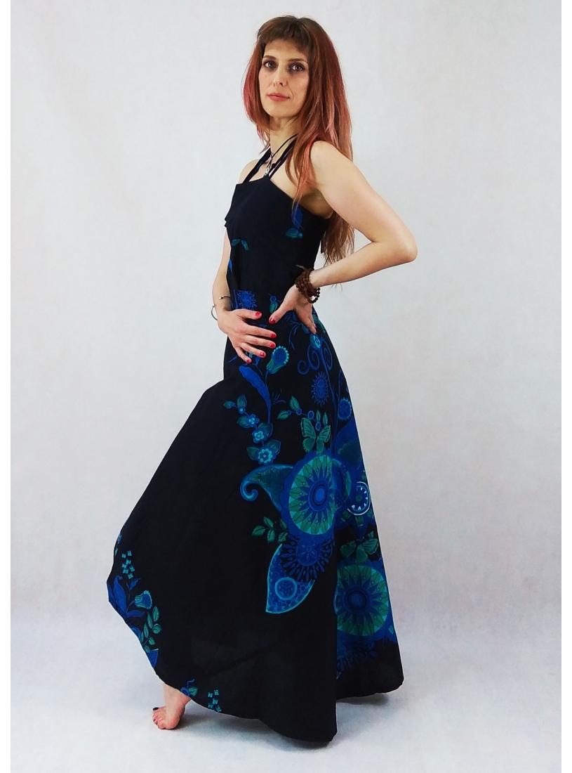 Fekete, kék indás, lepkés lapruha