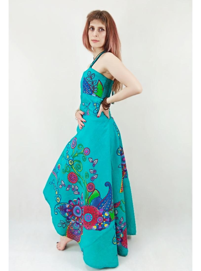 Türkiz, színes indás lapruha