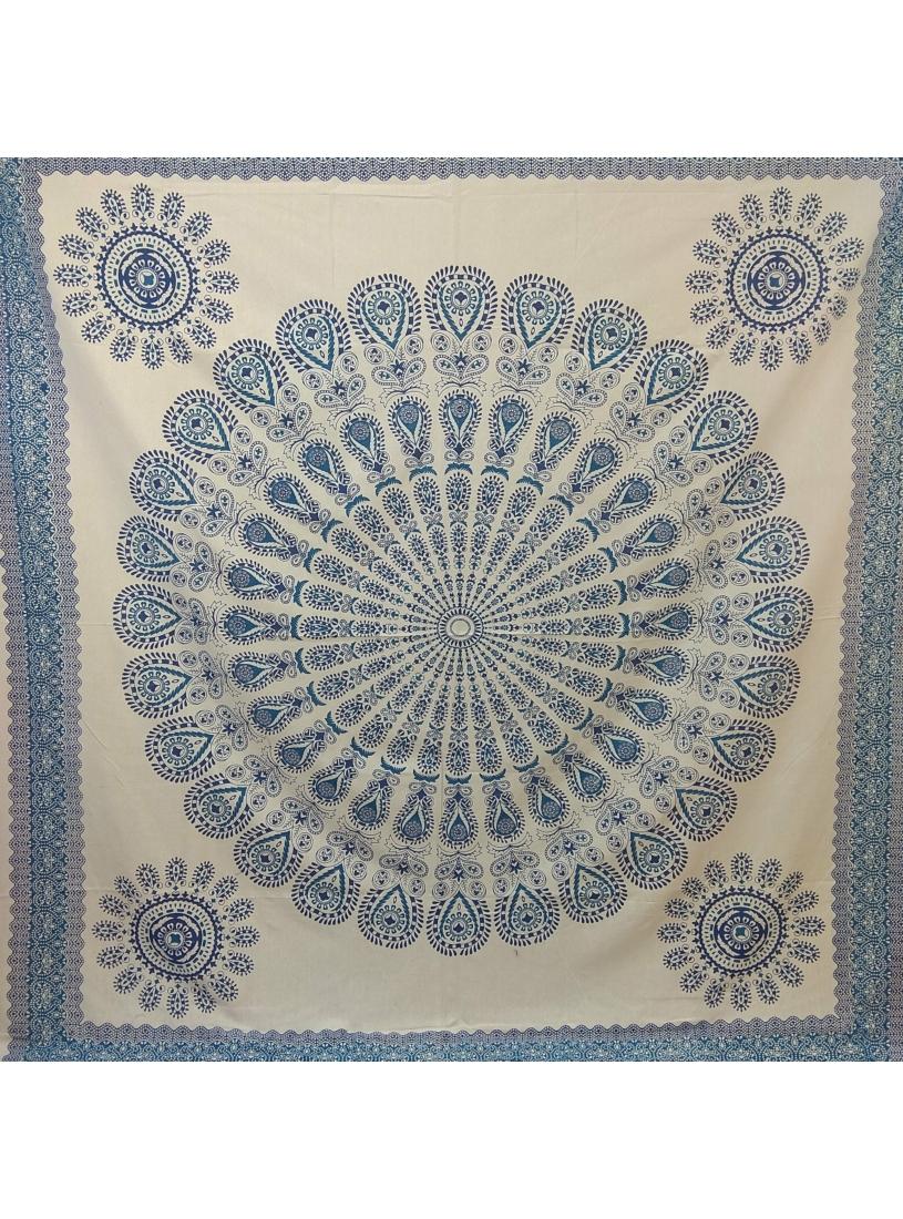 Mandalás ágytakaró - kék, fehér