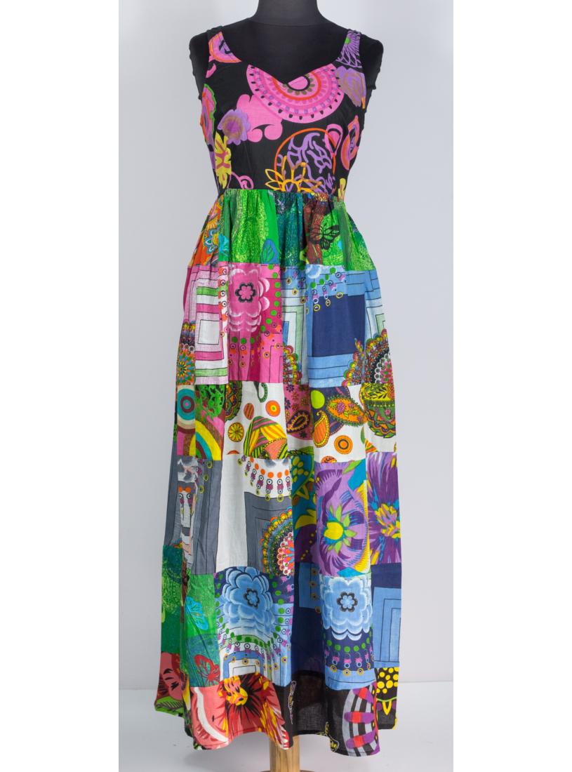 Boho - patchwork maxi ruha, fekete