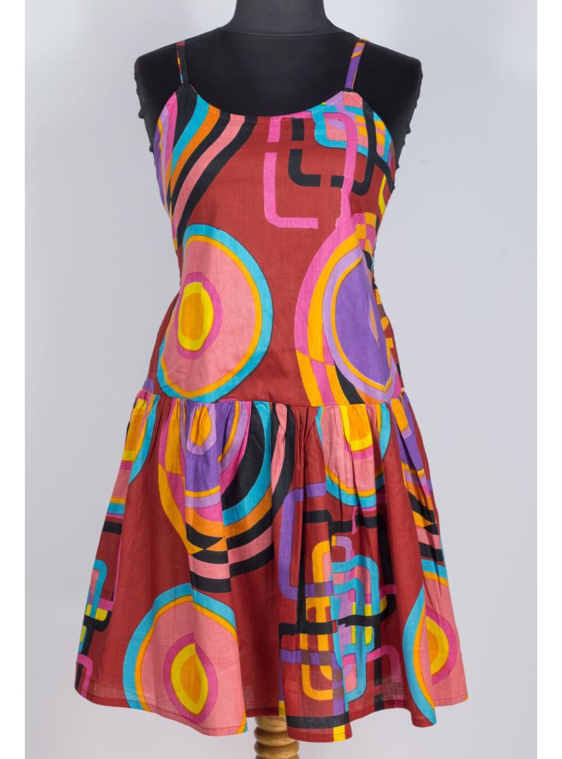 Piros - geometriai mintás midi ruha