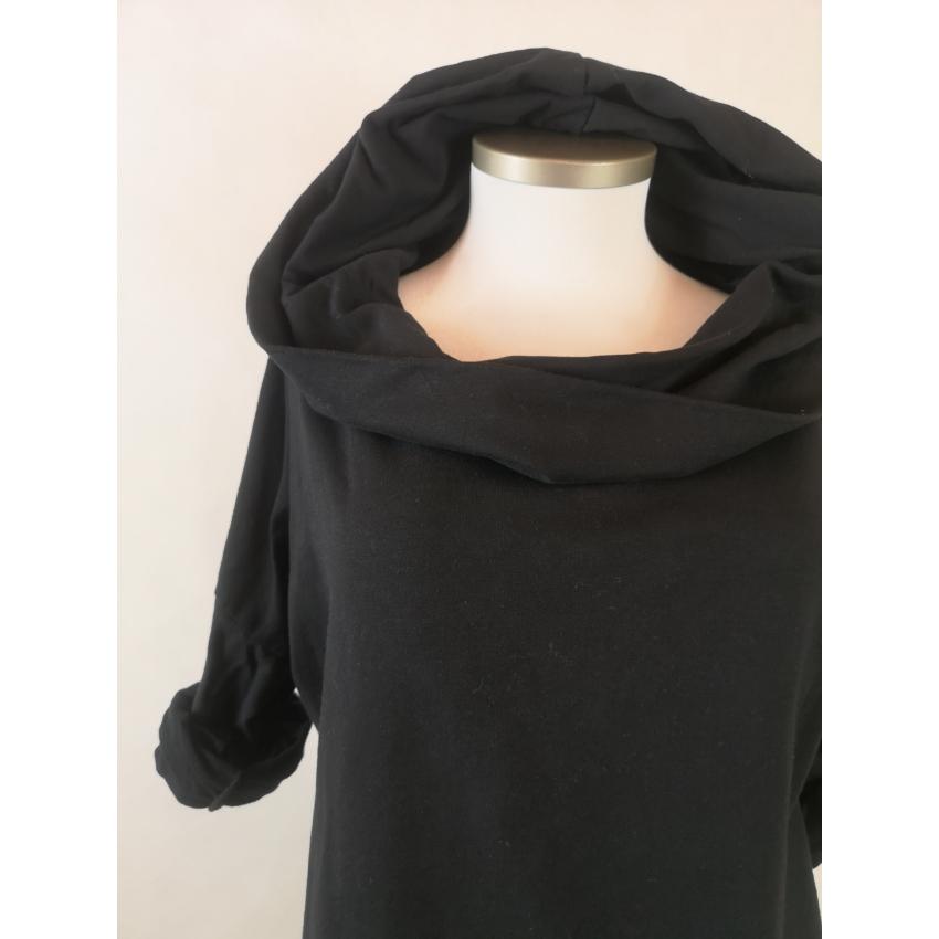 Kámzsásnyakú pulóver - fekete