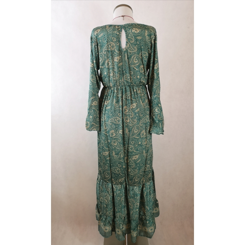 Indiai ruha, hosszú ujjú maxi ruha  - bézs, türkiz
