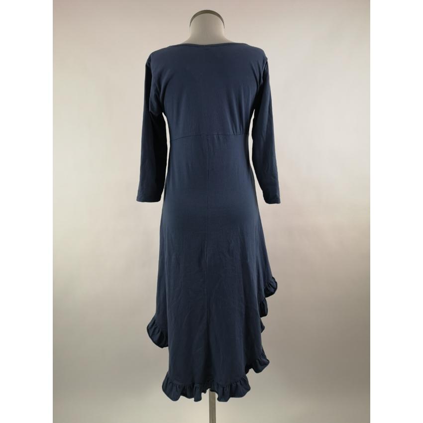 Basic - fodros aljú pamut ruha - kék
