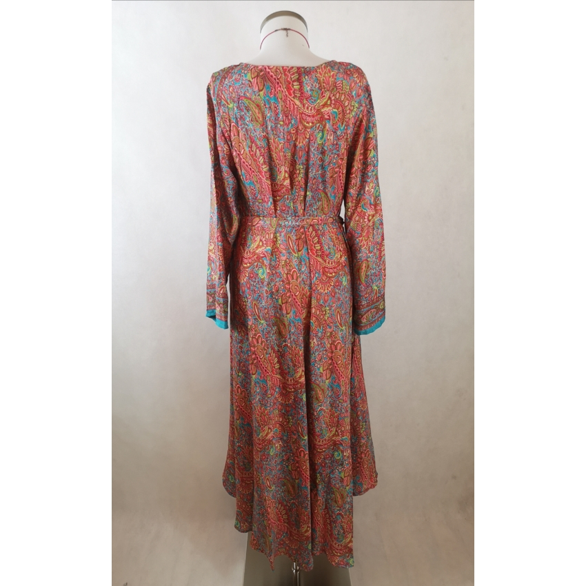 Indiai, hosszú ujjú maxi ruha - narancs