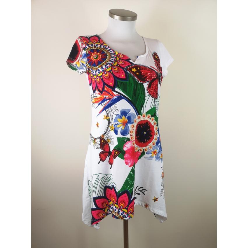 You wit hus fashion - lepke, mandala mintás tunika / fehér /
