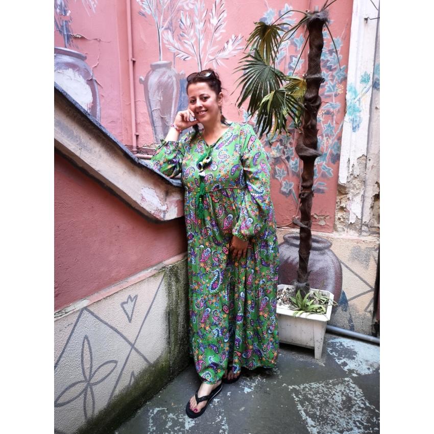 Pompomos maxi ruha - fűzöld
