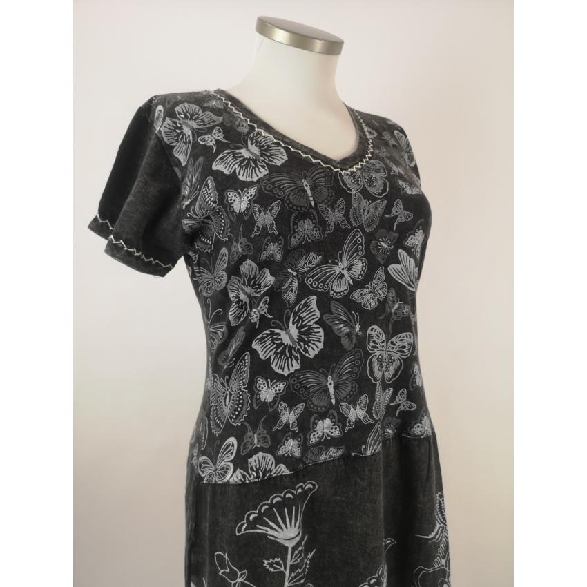 Lepkés ruha / tunika - fekete
