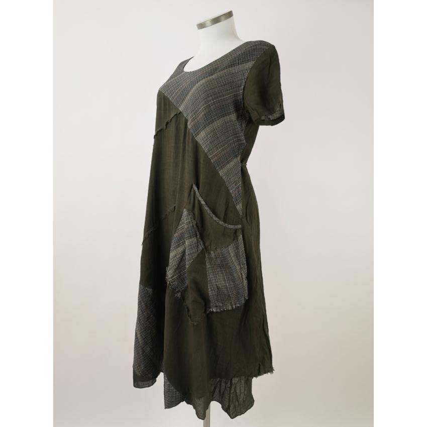 Kockás - khaki midi ruha