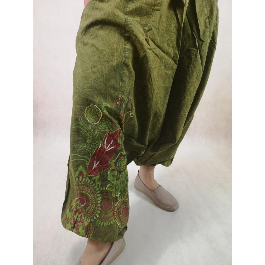 Aladdin nadrág - kőmosott, virágos / Zöld /