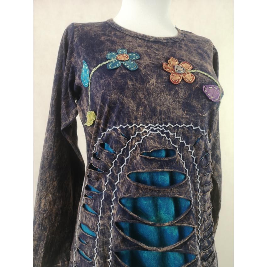 Kőmosott, középen szabdalt ruha / tunika - liláskék