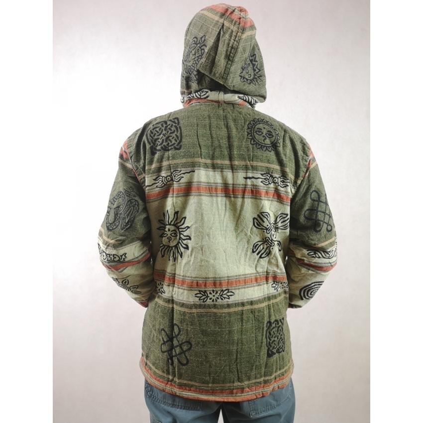 Nepáli, átmeneti kabát - világos zöld, narancs csíkos