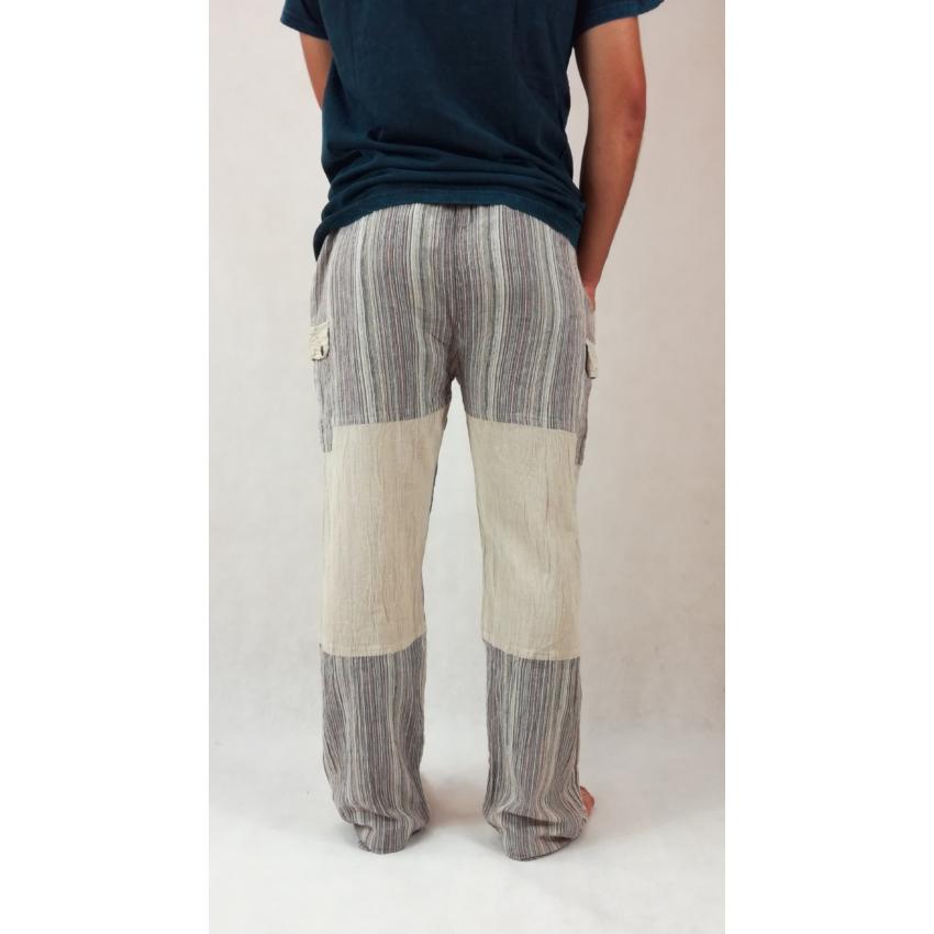 Vászon nadrág csíkos-drapp