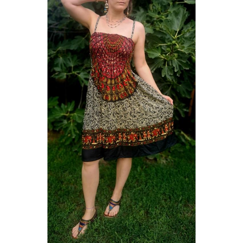 Etnic, elefántos - mini ruha