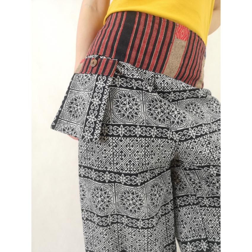 Thai jázmin nadrág - kék, fehér mintás