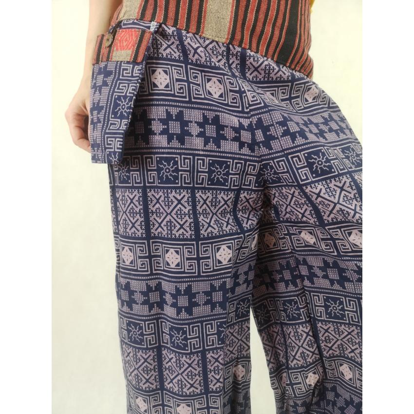 Bő jázmin nadrág - lila, mintás