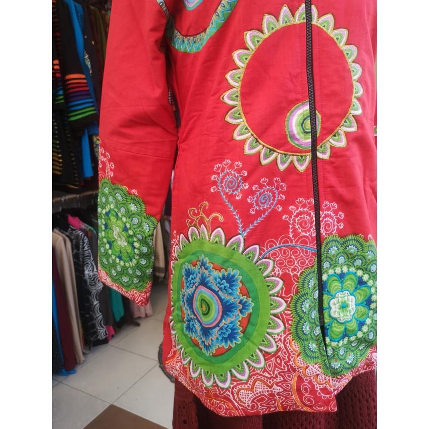 Mandalás - csuklyás kabát ( piros )