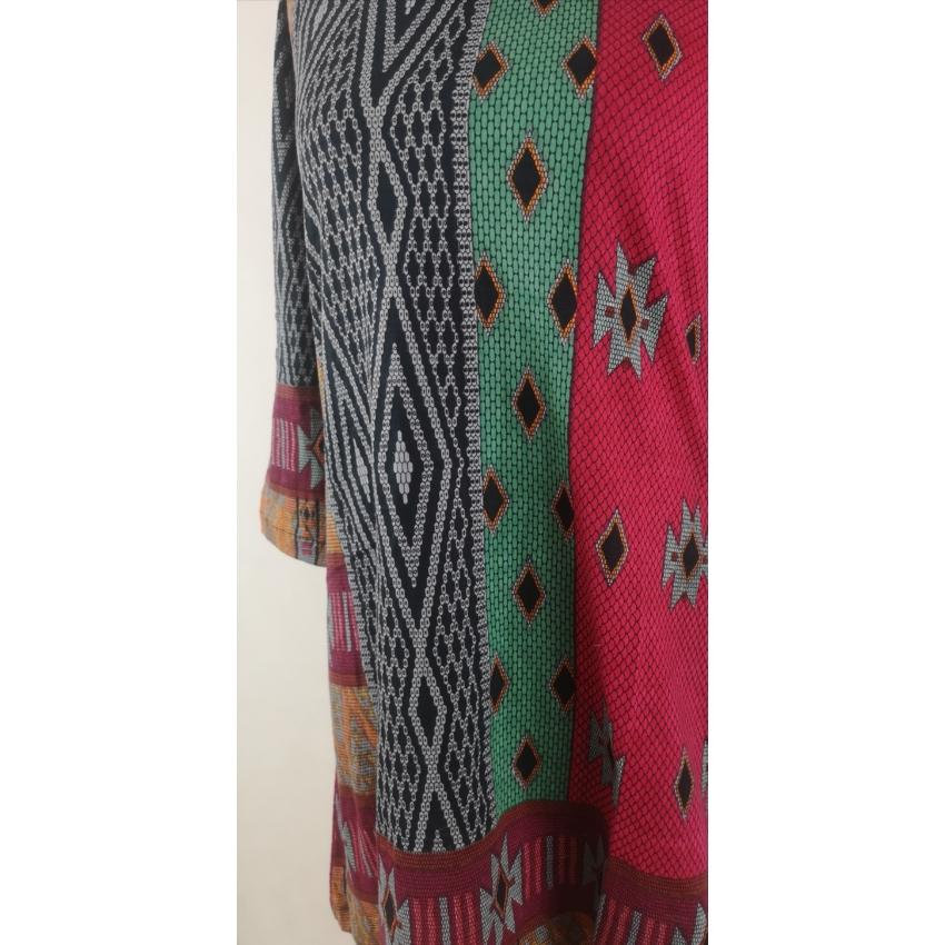 Etnikai mintás ruha/tunika - piros, szürke, mustár