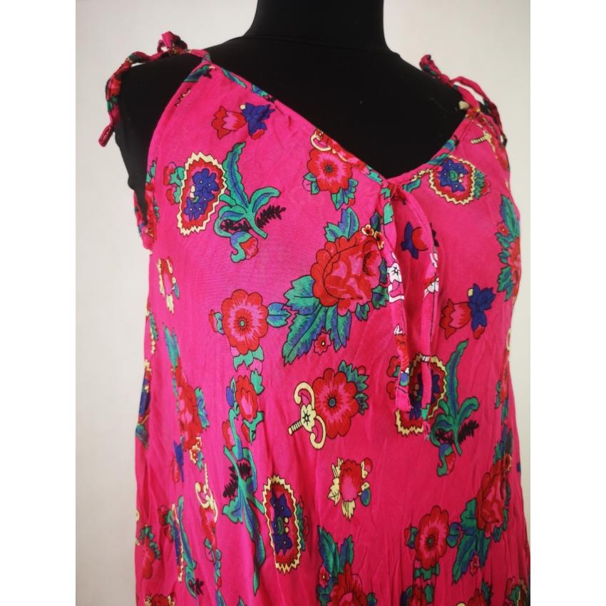 Lenge nyári ruha - apró virágos, pink