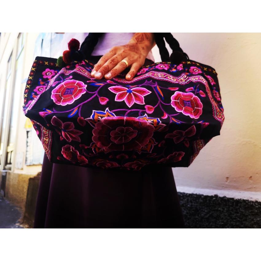 Pompomos táska - pink flower