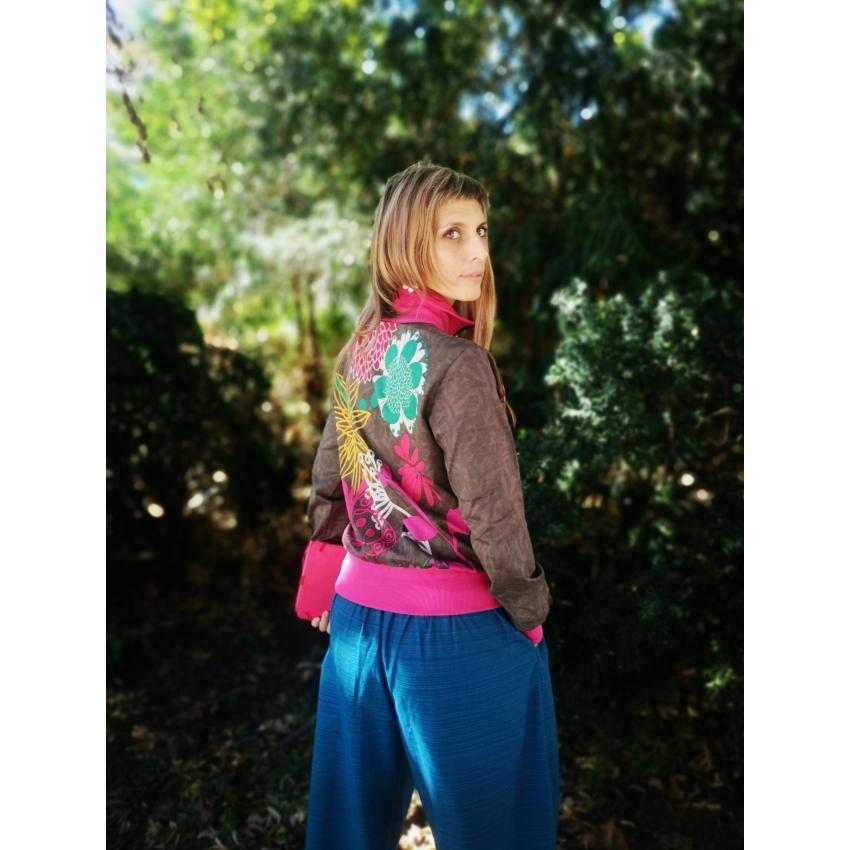 Pop art - szürke, rózsaszín cipzáros pulcsi