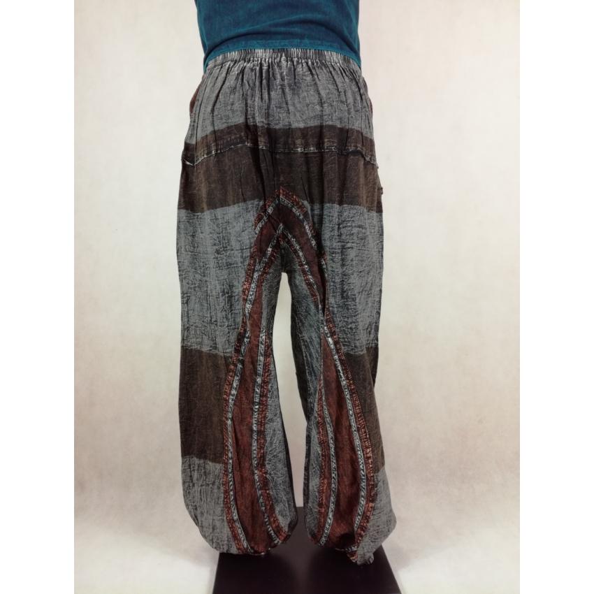 Kőmosott, hosszított ülepű nadrág - szürke-barna