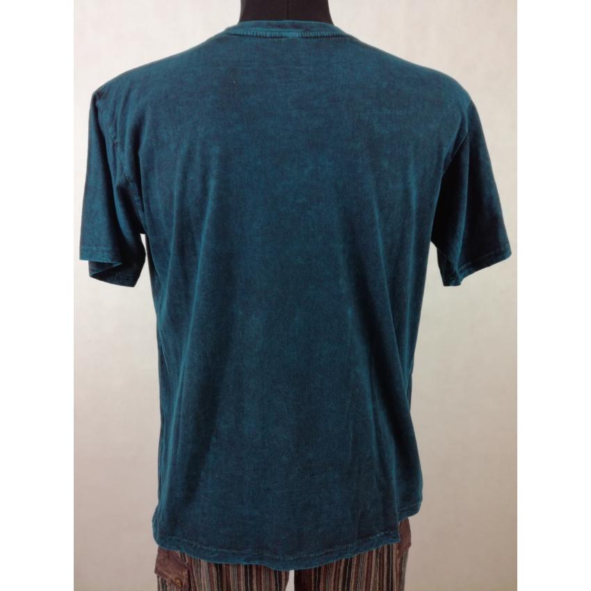 Kőmosott ohmos póló - kék