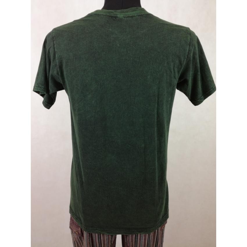 Kőmosott ohmos póló - zöld