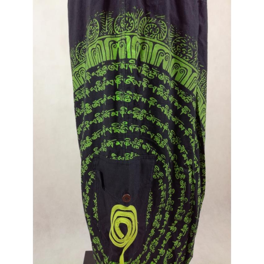 Ejtett ülepű, világoszöld mantrás nadrág - fekete