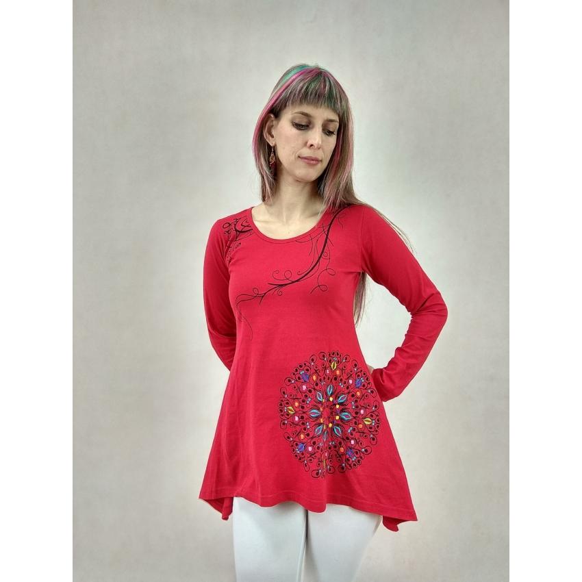 Indás, hímzett virágos mini ruha - piros