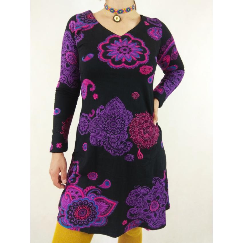 Indiai motivumos mini ruha - pink, lila
